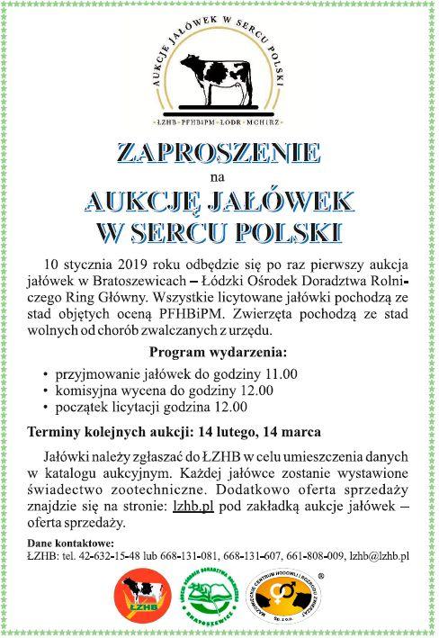 Zaproszenie Na Aukcje Jałówek W Sercu Polski 10012019 R