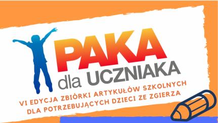 """Plakat promujący zgierski finał akcji """"Paka dla Uczniaka"""""""