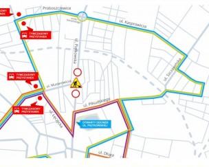 Mapka czasowej zmiany tras autobusów