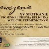 Zaproszenie na XV Spotkania z piosenką i pieśnią religijną w duchu ekumenicznym