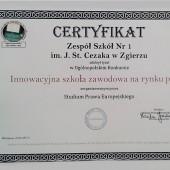 Zdjęcie certyfikatu dla szkoły