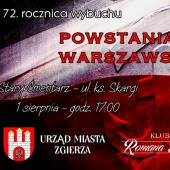 Plakat zapraszający do wzięcia udziału w obchodach 72 rocznicy wybuchu Powstania Warszawskiego.