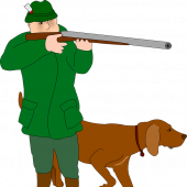 Myśliwy z psem - grafika pixabay.com (domena publiczna)Close