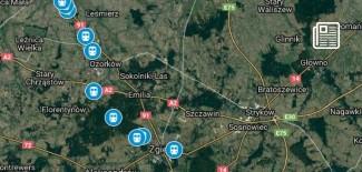 Mapka z zaznaczonymi przejazdami kolejowymi na trasie Zgierz-Kutno