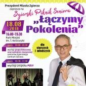 """Plakat promujący Zgierski Piknik Seniora """"Łączymy Pokolenia"""""""