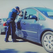 Policjant zagląda przez szybę do samochodu